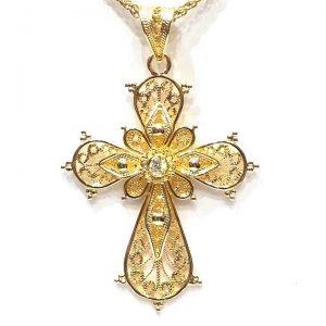 Βυζαντινός Σταυρός Κ18 με Διαμάντι