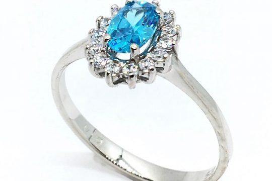 Δαχτυλίδι Ροζέτα λευκό χρυσό Γαλάζιο