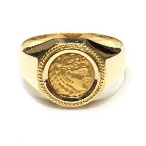Δαχτυλίδι χρυσό ανδρικό με Αλέξανδρο ΔΧΑ41