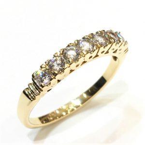 Δαχτυλίδι χρυσό μισόβερο επτάπετρο