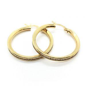 Χρυσά σκουλαρίκια μεγάλοι κρίκοι με πέτρες